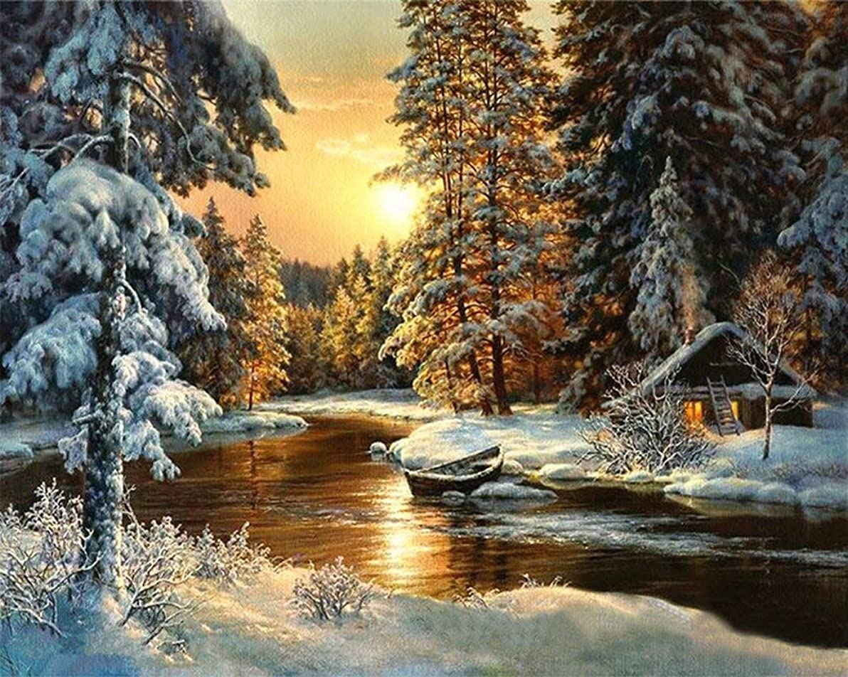 ベーカリーまたはどちらか技術的なWincy Shop 数字油絵 Diy Snow Sunset Scene Oil Painting Paint by Numbers without Wooden Framed Home Decoration Paintings