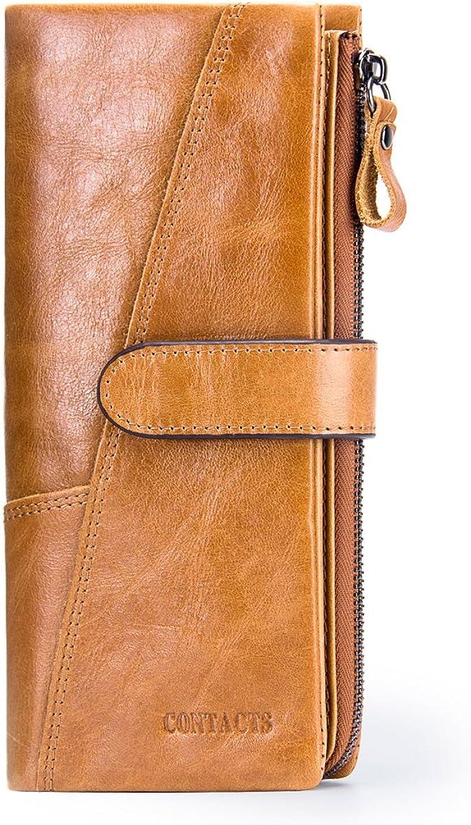 Leather Mens Clutch Bag RFID Blocking Trifold Wallet, Genuine Leather Zipper Long Credit Card Zipper Pocket Checkbook Phone Holder Purse
