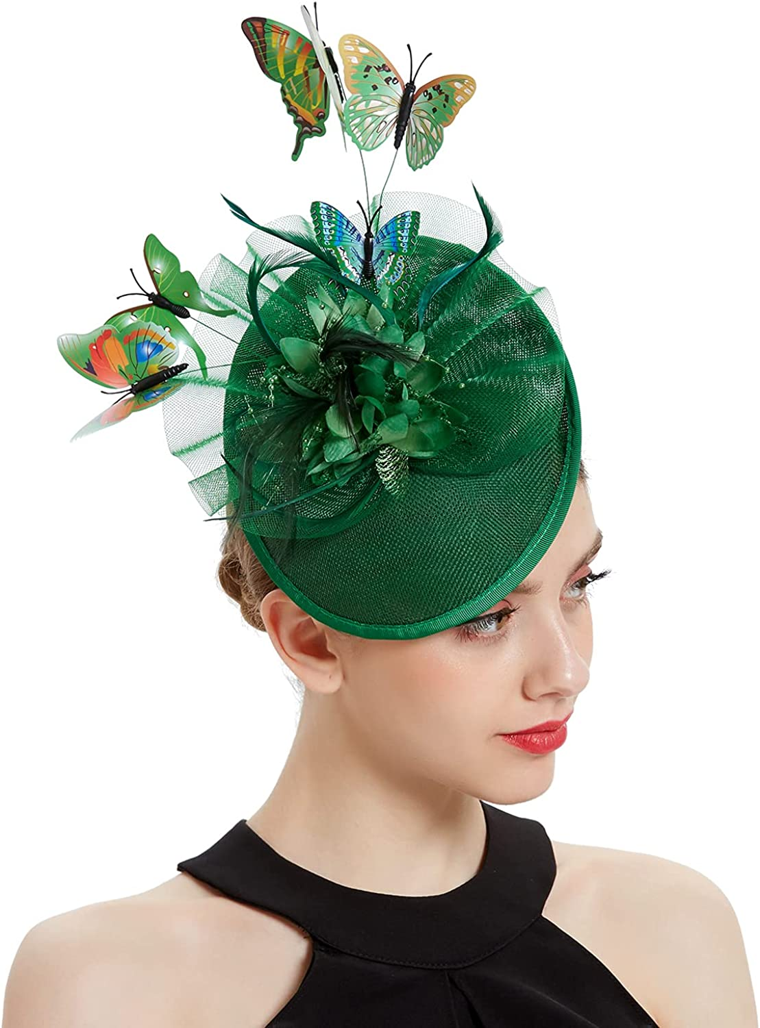 Coucoland Fascinators National uniform free shipping Hat Tea Pillbox Max 81% OFF Party Fascin Butterfly