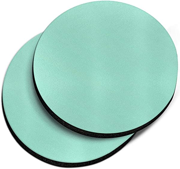 CARIBOU Coasters Solid Mint Green Design Absorbent ROUND Fabric Felt Neoprene Car Coasters For Drinks 2 56 Inches 2pcs Set