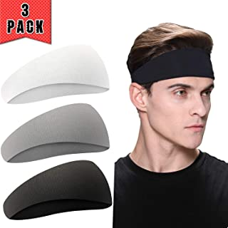 EasYoung Men's Headbands, 6/4/3 Pack Headbands for Men, Guys Sport Sweatbands for Running, Crossfit, Cycling, Yoga, Working Out Gym Exercise, Performance Stretch and Moisture Wicking