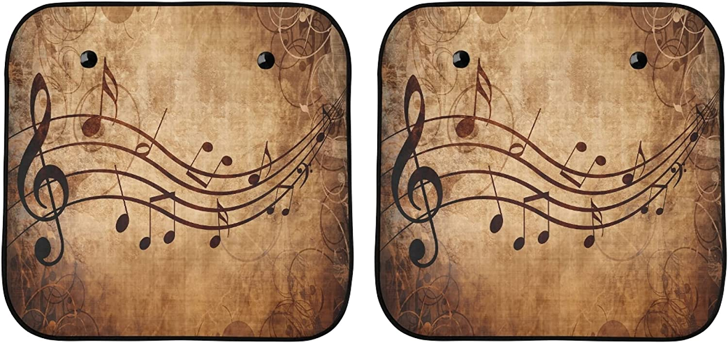 YPink Car Sun Window Shade Old Music OFFer Sheet Outstanding Musical Notes Ca with