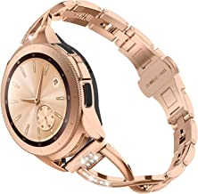TOYOUTHS Compatible with Samsung Watch 42mm Band Women Rose Gold Rhinestone Replacement Smart Watch Bands Bracelets for Samsung Watch 42mm R810/Galaxy Active 40mm R500/20mm Watch Band, Rose Gold