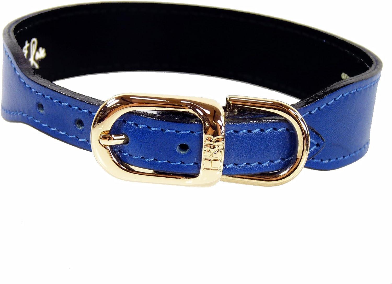 Hartman & pink 1085 Plain gold Plated Dog Collar, 16 to 18Inch, Cobalt bluee