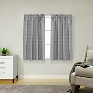 Lazzzy Grey Short Curtains for Gray Small Window 45 inch Water Repellent Waffle-Weave Textured Window Drapes Kitchen Curtains 2 Panels