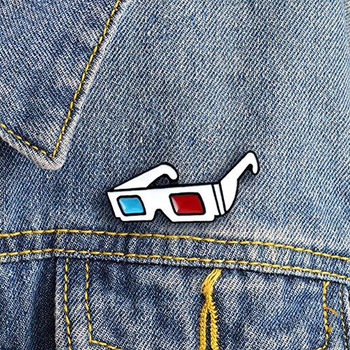 Kuizhiren1 Fashion Brooch Pin Gift,Fashion 3D Sunglasses Badge Collar Lapel Brooch Pin Clothes Jewelry Bag Decor - White