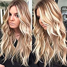 Blonde Long Curly Wavy Wig for Women Synthetic Hair Full Wigs With Bangs Halloween Cosplay Costume Wig with Free Wig Cap (Light Blonde) (A)