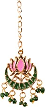 Touchstone New Contemporary Kundan Collection Indian Bollywood Mughal Floral Kundan Look Natural Beads Broad Bridal Jewelry Maangtika in Antique Gold Tone for Women