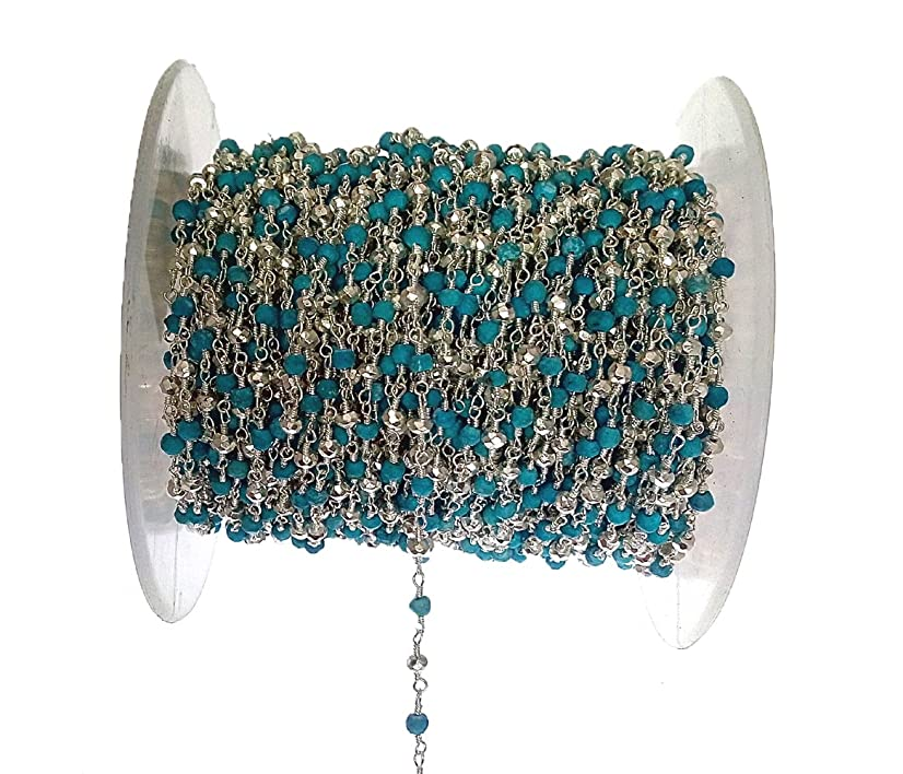 3 feet Five Natural Turquoise and one Natural Pyrite Bead 3mm Silver Rosary Style Chain by bestinbeads, Natural semi Precious Gemstone Beaded Chain by The Foot, Jewelry Making Chain