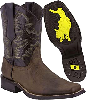 Men's Dark Brown Leather Western Cowboy Boots Rubber Sole Square Toe 12.5 D(M) US
