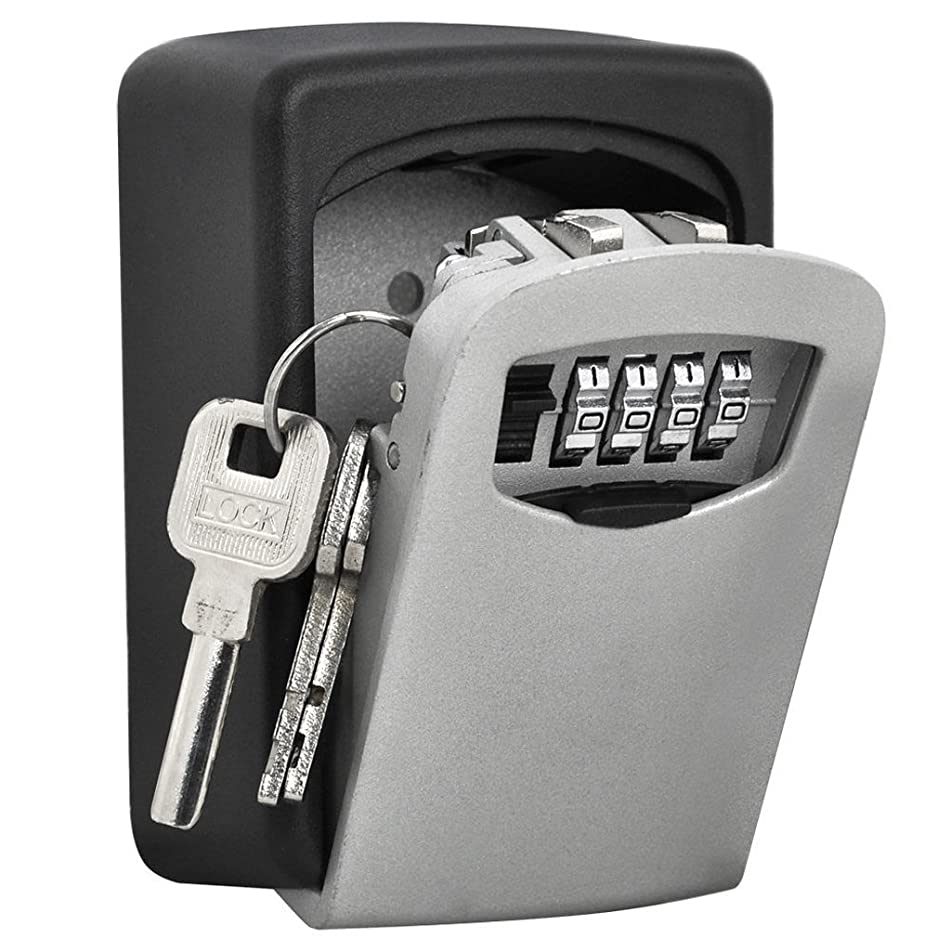 TTRwin Key Lock Box-Key Safe Box Wall Mounted 4 Digit Weather Resistant Key Storage Box for Indoors or Outdoors Holds up to 5 Keys Secure Box Keys Holder