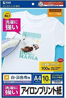 SANWA SUPPLY JP-TPRTYN-10 インクジェット洗濯に強いアイロンプリント紙(白布用)