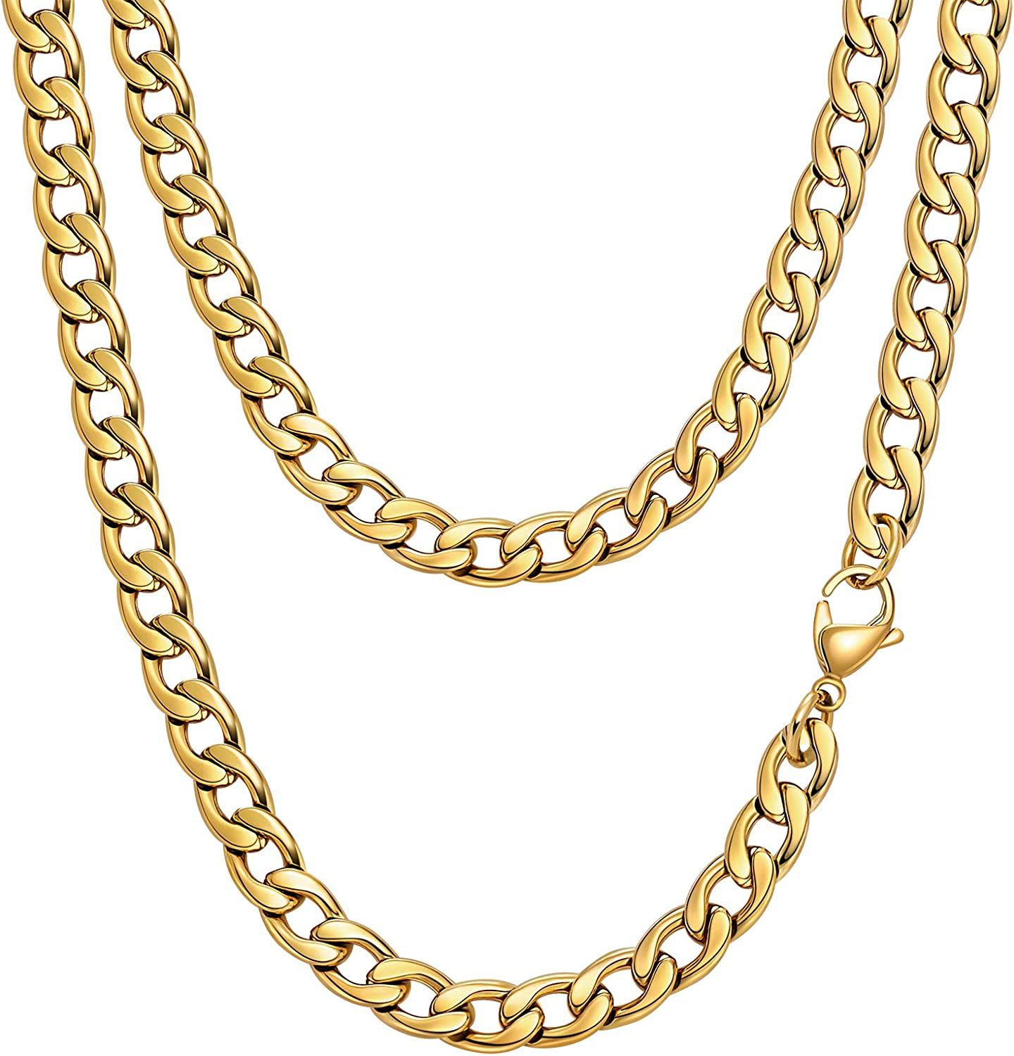 Jugalstar Fake Gold Chain Stainless Steel Necklace for Men Women, 22 Inch Golden Ultra Luxury Looking Feeling Real Solid 14K Gold Plated Curb Fake Neck Chain for Graduation Gathering Party Dancing