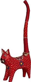 "8"" Tall Cat Long Tailリングホルダー手ドットペイント木製手彫りカラフルキュート レッド AX-AY-ABHI-111159"