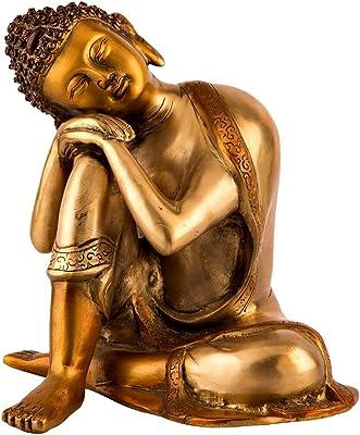 10 Grande Estatua Budista Latón Estatua De Buda Dormir Escultura De Descanso Acabado Plateado Oro Home Kitchen
