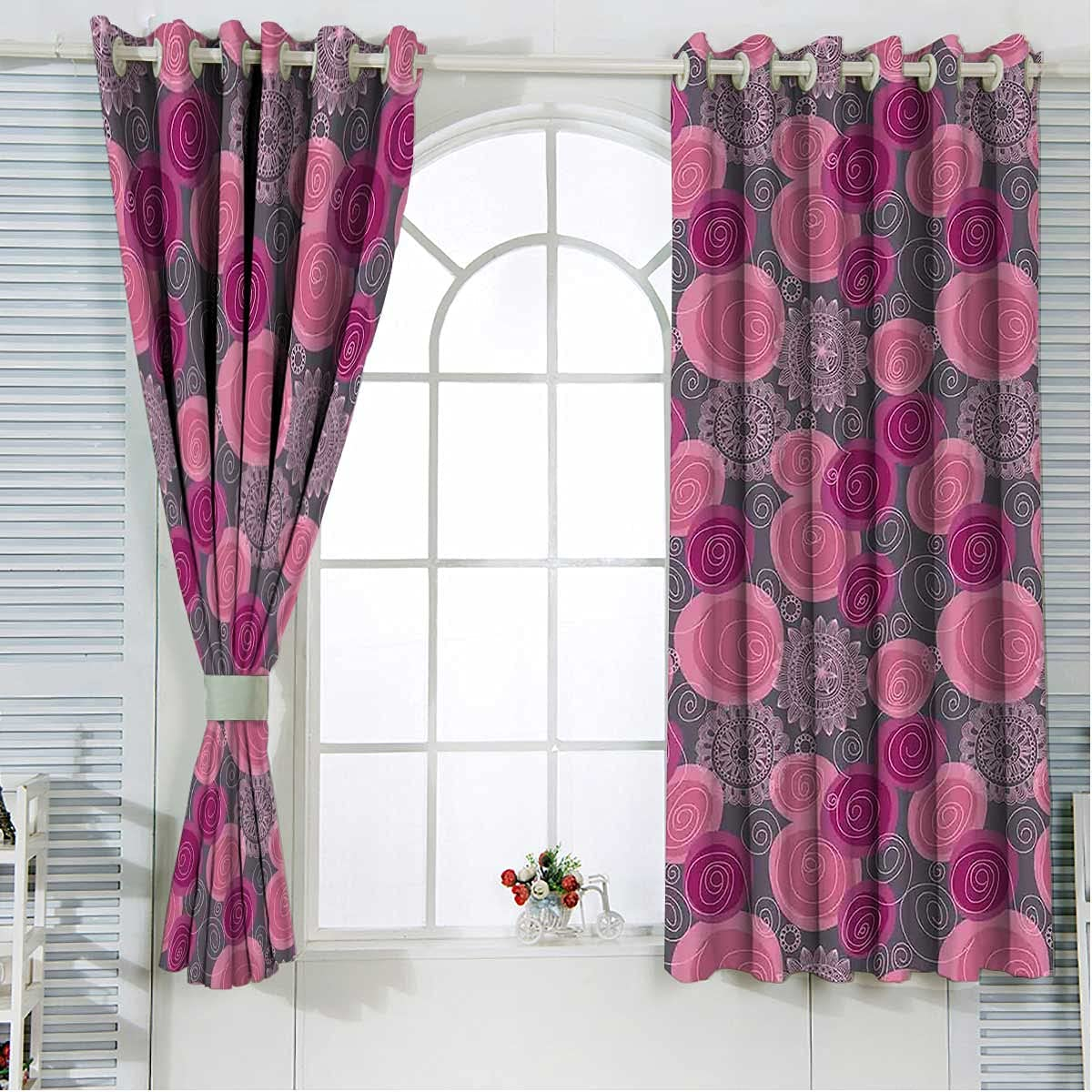 Save money New product!! Blackout Curtain Liners 63 Inches Circle Lace Swirled Bl Length