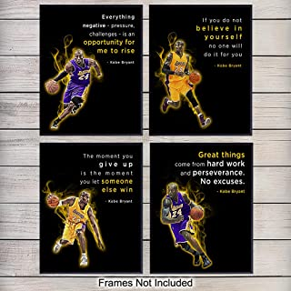 Motivational Kobe Bryant Quotes, Office Wall Decor - 8x10 Home Art, Room Decoration - Inspirational Gift for LA Lakers, Basketball, Sports Fan, Athlete, Entrepreneur - Unframed Poster Prints