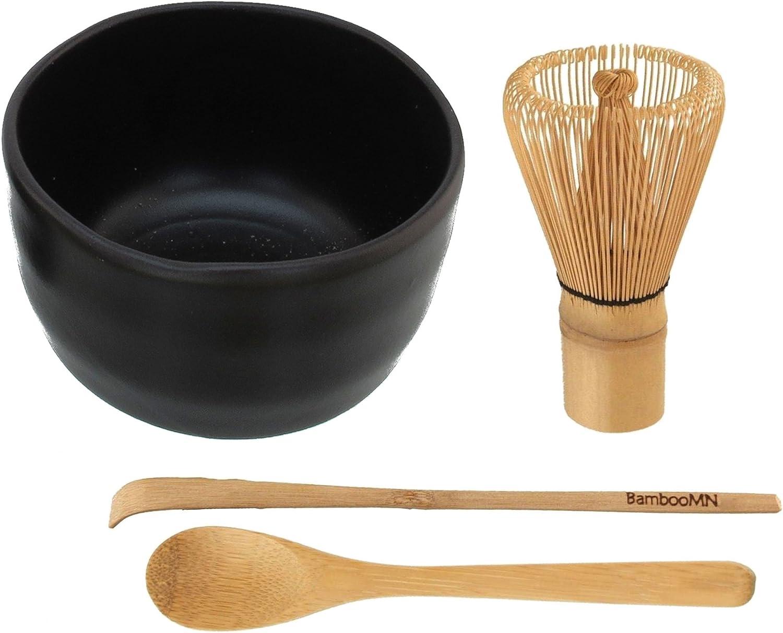 BambooMN Brand - Matcha Green Tea Whisk Set - Whisk + Scoop + Te