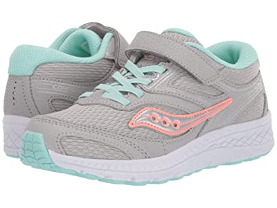 Saucony Kids S-Cohesion 12 A/C (Little Kid/Big Kid) (Grey/Turquoise) Girls Shoes