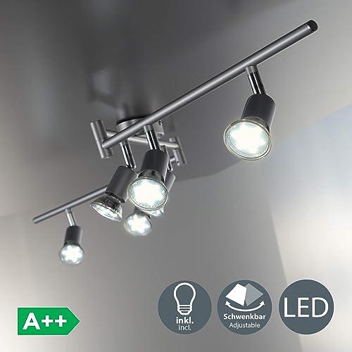 B.K. Licht plafonnier 6 spots orientables, ampoules LED 3W GU10 incluses, spots plafond, éclairage intérieur salon salle à manger cuisine couloir chambre, lumière blanche chaude 3000K, 230V, IP20