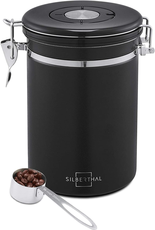 SILBERTHAL Bote café hermetico con cuchara   Tarro cafe 500g Acero inoxidable   Bote hermetico para cafe grano o cafe molido   Negro