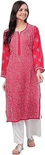 Ada Lucknow Chikan Hand Embroidered Women's Faux Georgette Kurti Kurta A95485