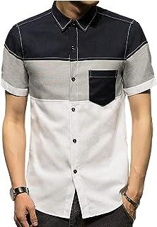 [アルトコロニー] 半袖 シャツ カジュアル トップス 開襟 襟付き お洒落 マルチカラー スリム フィット M~ 2XL メンズ