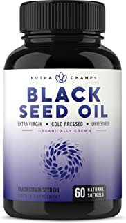 Organic Black Seed Oil Capsules [Extra Strength] Premium 1000mg Black Cumin Supplement - Nigella Sativa Softgels w/Thymoquinone & Omega 3 6 9 - Extra Virgin, Unrefined, Cold Pressed Unfiltered Pills