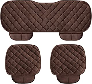 WINGOFFLY 3 Pack Thicken Front and Rear Car Seat Cushion Nonslip Car Interior Seat Cover Pad Mat Fit for Auto Vehicle, Coffee