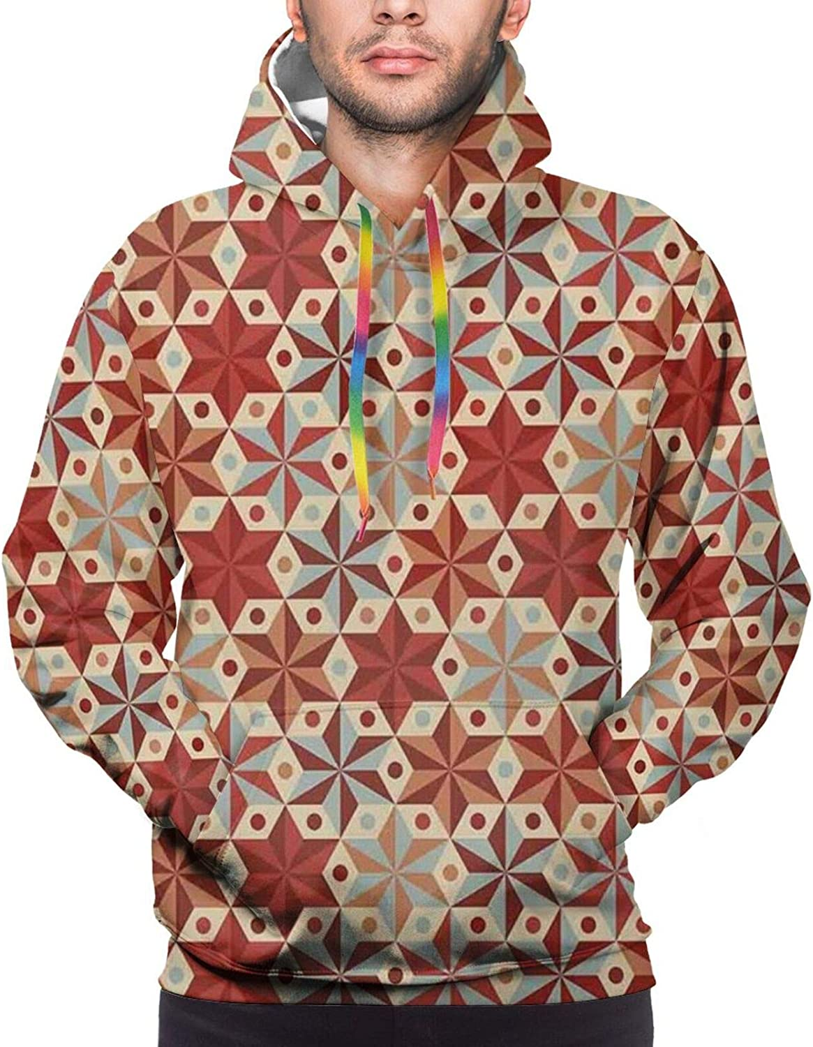 Men's Hoodies Sweatshirts,Abstract Anise Stars Pattern in Warm Retro Colors with Dots Geometric Design,Small