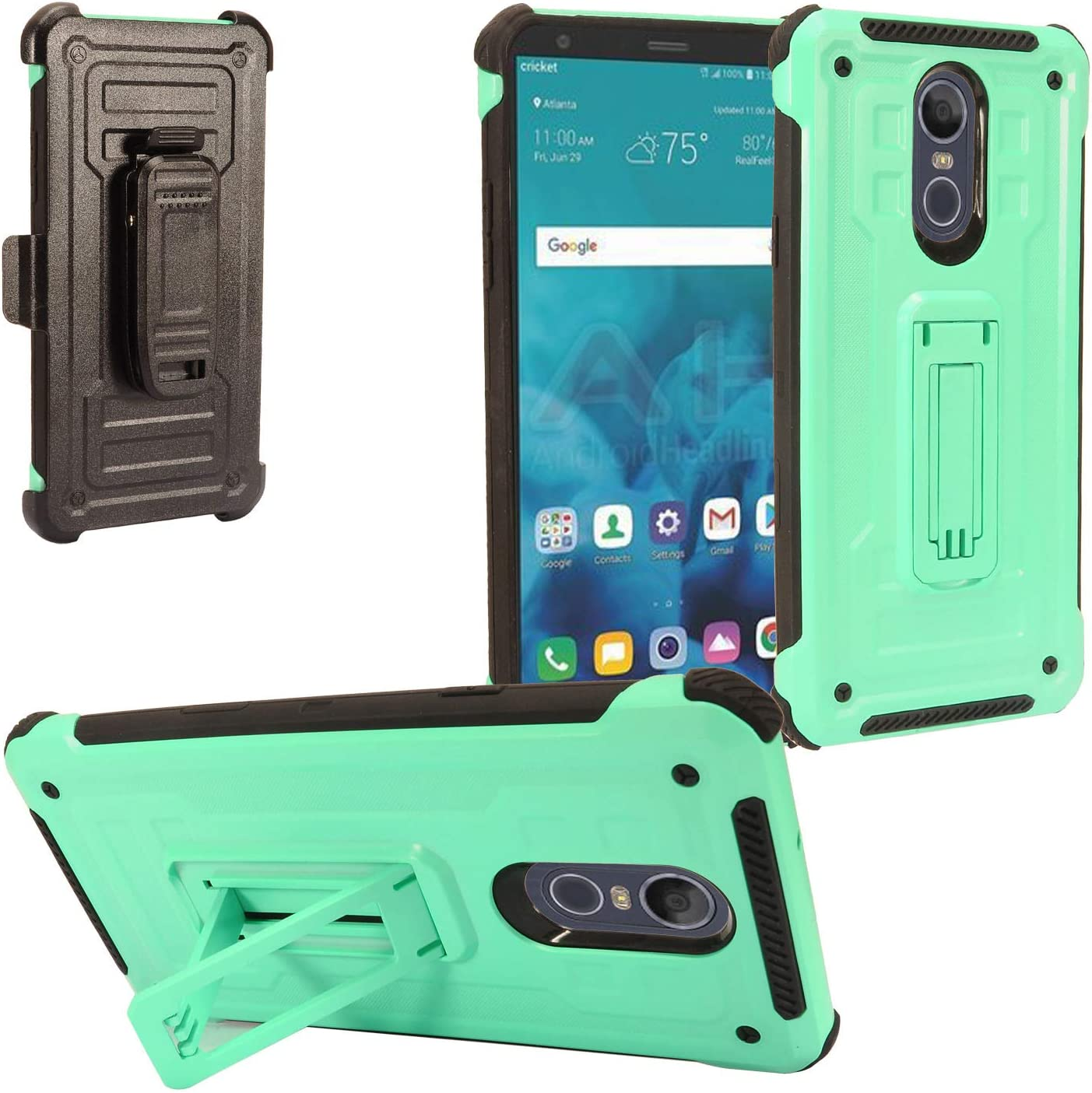 Z-GEN - LG Stylo 4 (2018), Stylo4+ Plus, LM-Q710, LM-L713DL - Hybrid Phone Case w/Stand/Belt Clip Holster + Tempered Glass Screen Protector - ST3 Mint