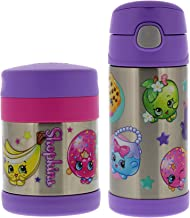 Thermos Funtainer Vacuum Insulated Stainless Steel 10oz Food Jar & 12oz Water Bottle w/Straw Set - Tasteless and Odorless, BPA-free, Great for Children, Lunchbag, Travel- Purple Shopkins