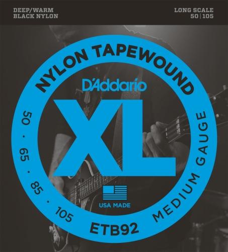 D'Addario ETB92 Tapewound Bass Guitar Strings, Medium, 50-105, Long Scale
