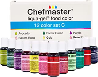 Chefmaster: Liqua-Gel Food Coloring - 12 Color Set C - Fade Resistant Food Coloring - 12 Pack - Vibrant, Eye-Catching Colo...