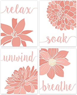 Relax, Soak, Unwind, Breathe Pink & White Bath Flower Poster Prints, Set of 4 (8x10) Unframed Photos, Wall Art Decor Gifts...