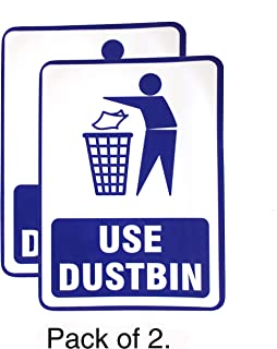 "eSplanade Use Dustbin/Trash Bin Sign Sticker Decal - Easy to Mount Weather Resistant Long Lasting Ink (Size -7.5""x5.5"")"