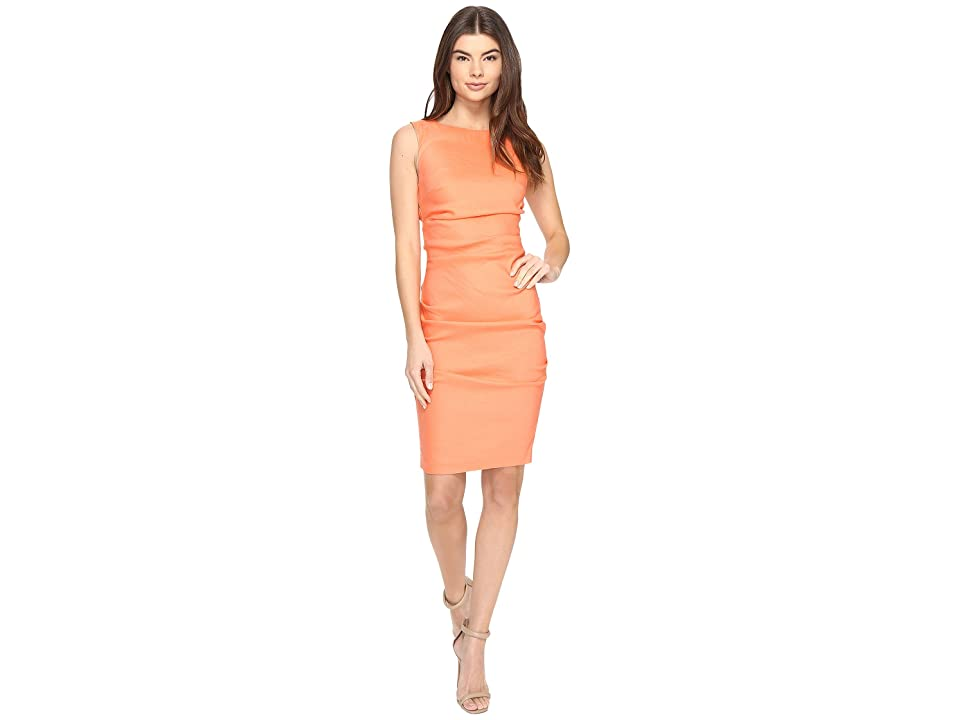 Nicole Miller Lauren Stretch Linen Dress (Aloha Coral) Women