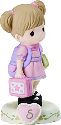 Precious Moments 152011B Growing In Grace, Age 5 Girl Bisque Porcelain Figurine Brunette