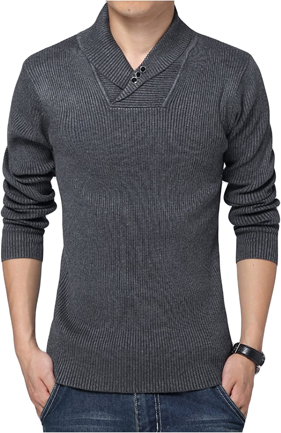 Jueshanzj Mens Pullover V-Neck Long Sleeve Knitted Sweater