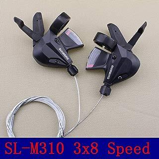 DZNTMY Shimano Acera SL-M310 Palanca de Cambio rápido de 3 x 8 velocidades, Juego de palancas de Cambio con Cables de Cambio Interiores, Negro (Derecha 7 velocidades) (Izquierda 3 velocidades)