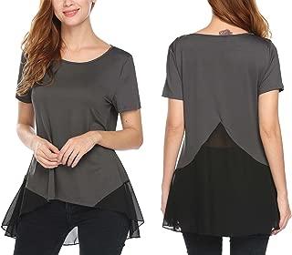 Women's Short Sleeve Round Neck Chiffon Hem Loose Lace Patchwork T-Shirt Tunic Top