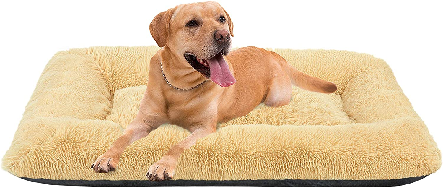 """FAREYY Large Dog Beds Pet Beds for Large Medium Dogs 35""""/43""""/51""""- Calming Dog Bed Crate Mat Faux Fur Machine Washable Anti-Slip Dog Beds for Large Medium Dogs and Cats"""