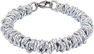 ParticolarModa Bracciale stile lucido diamantato martellato nodini intrecciato per donna in alluminio e acciaio Dorato Arg...