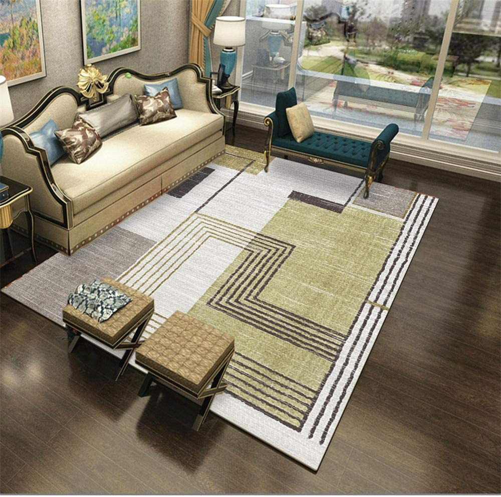 DJHWWD Extra Large Rugs For Living Room Modern style light green square pattern soft carpet durable Rugs For Living Room Outdoors Rug green 60X90CM