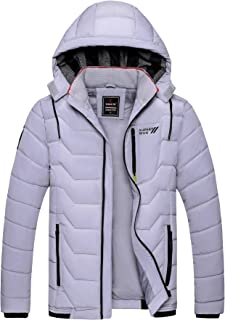 XIONG TAI Men's Puffer Jacket Thicken Warm Padded Winter Coat with Removable Hood