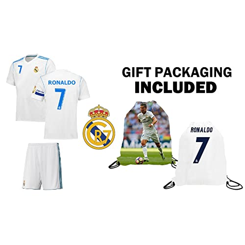 e86f2c456 Cristiano Ronaldo  7 Real Madrid Youth Kids Soccer Jersey ✓ Shorts ✓  Picture Bag ✓