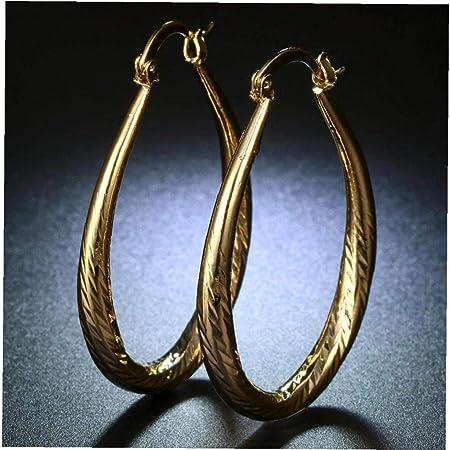 BYFRI Elegante Fill Oro Giallo 18k delle Donne della Vite prigioniera del Cerchio Orecchini Ovale Teardrop Grande Orecchini a Cerchio