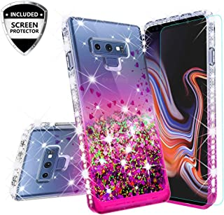 [Coverlab] Galaxy Note 9 Case Liquid Glitter Shock Proof Phone Case w/Tempered Glass Waterfall Floating Quicksand Girls Women Cover Compatible Cases for Samsung Galaxy Note 9 - Pink/Clear