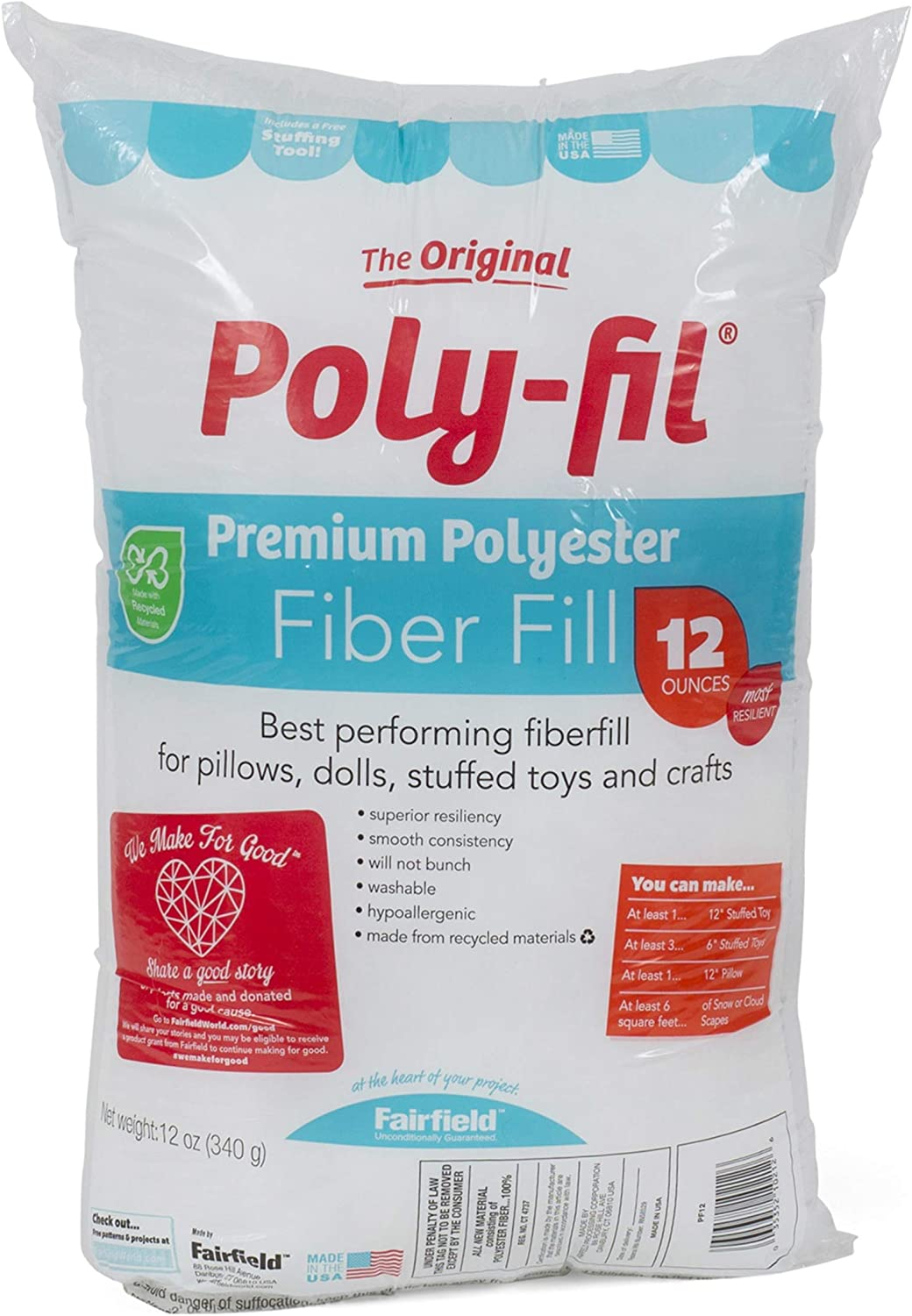 Poly-fil stuffing is what I use to give my pieces a little extra fluff and dimension.