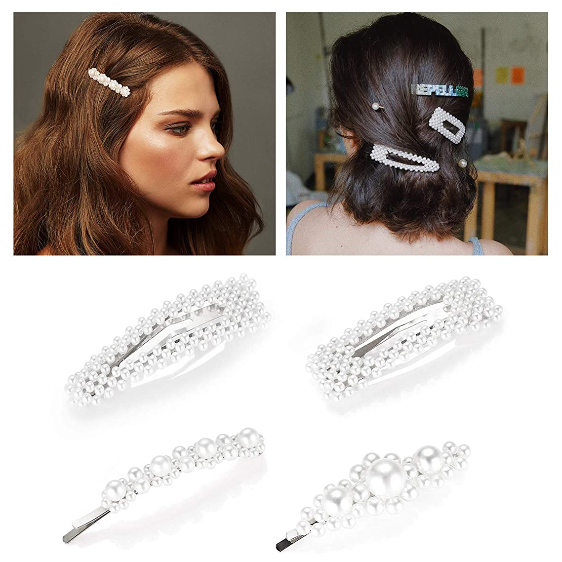 Pearl Hair Clips Barrettes for Women Girls Silver Tone Hair Accessories Fancy Hair Pins Large Big Side Trendy Clips for Toddlers Set 4pc